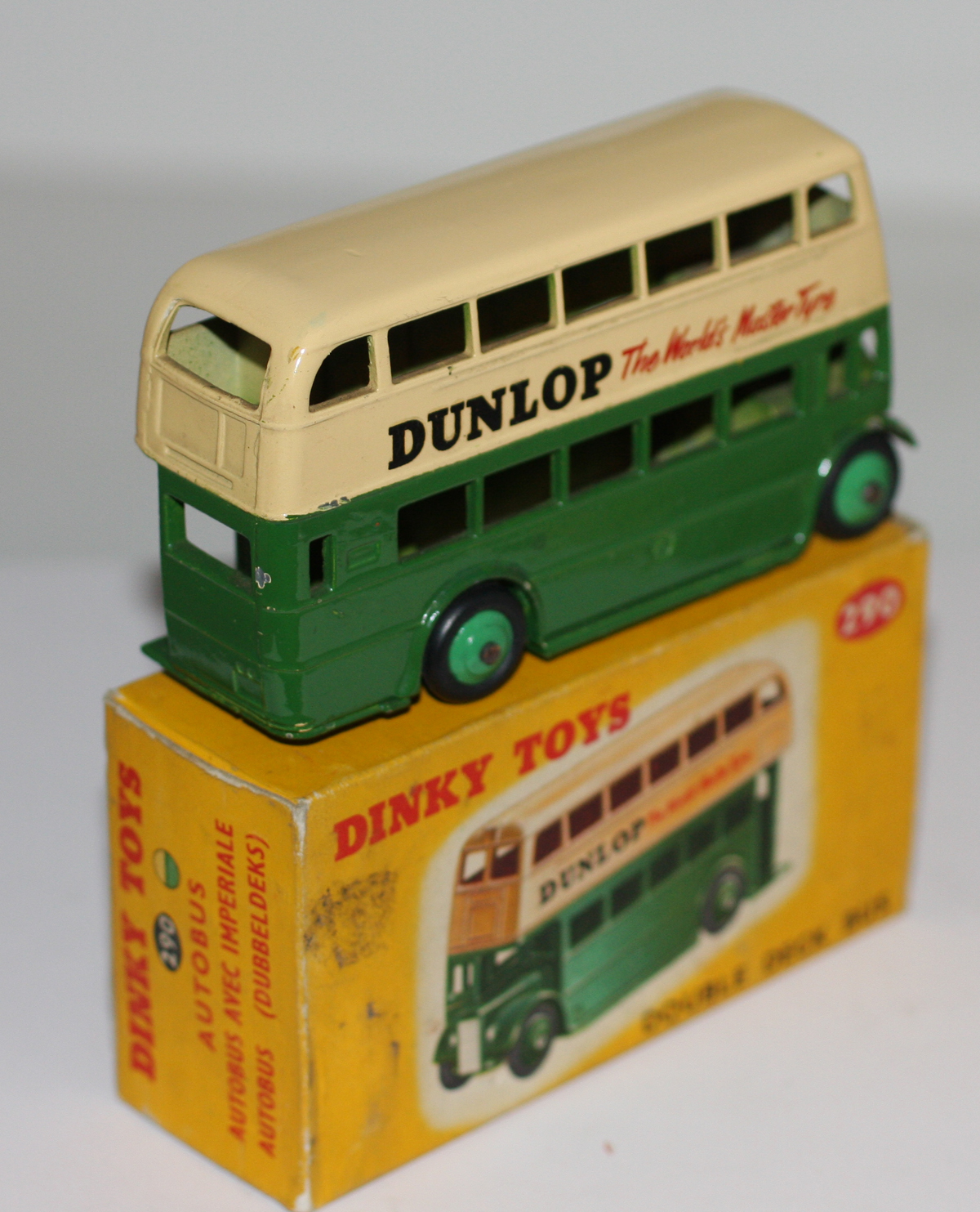 dinky toys 290 double decker bus green upright dunlop aec. Black Bedroom Furniture Sets. Home Design Ideas